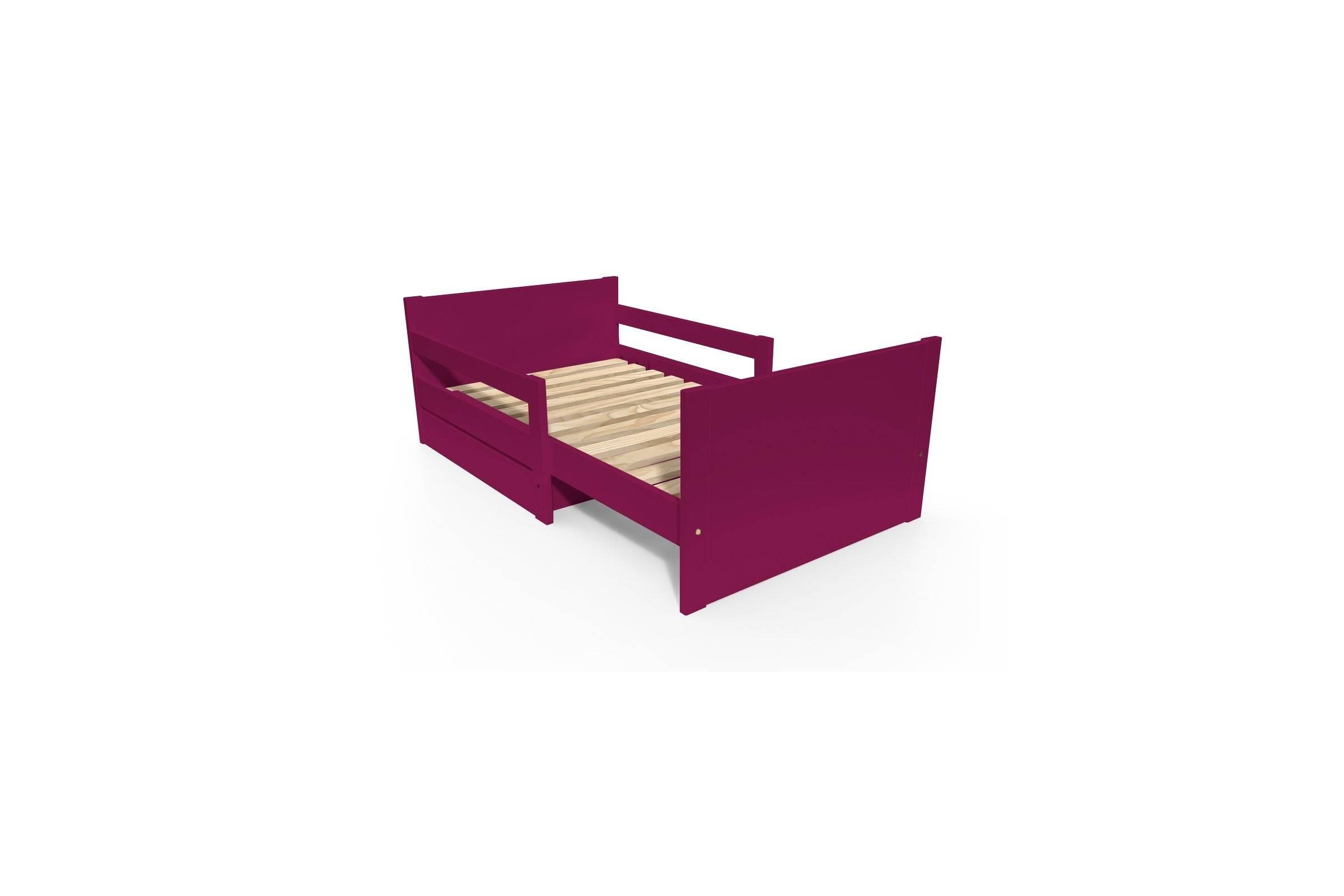 Abc meubles - lit évolutif enfant avec tiroir bois prune 90 x (140/170/200)