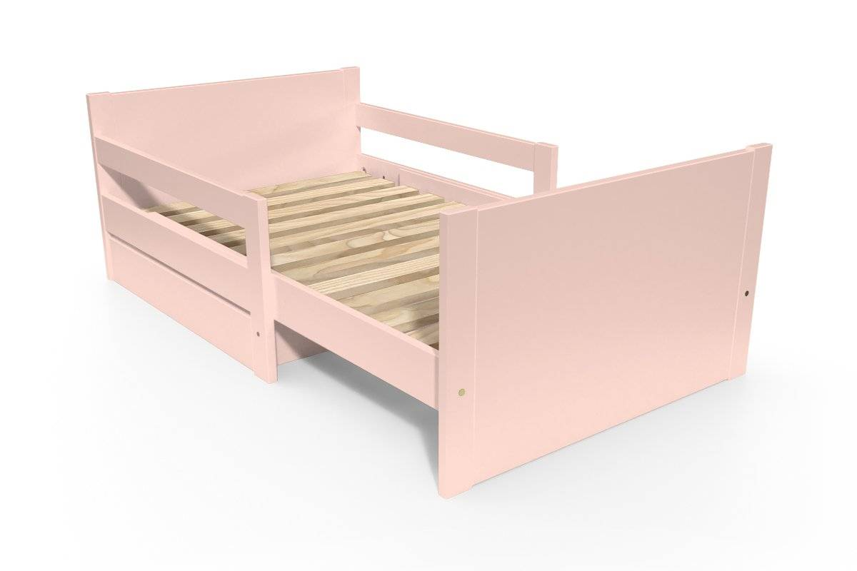ABC MEUBLES Lit évolutif enfant avec tiroir bois - 90 x (140/170/200) - Rose Pastel