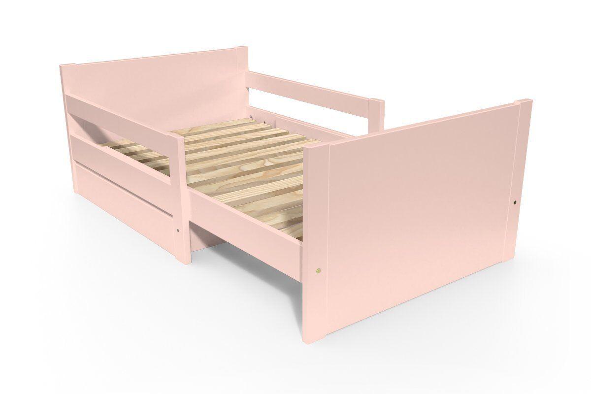Abc meubles - lit évolutif enfant avec tiroir bois rose pastel 90 x (140/170/200)