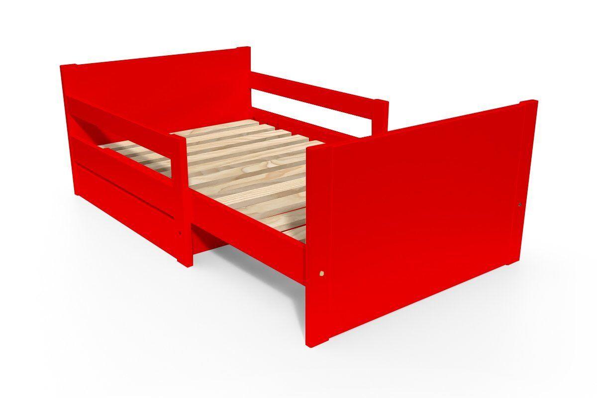 Abc meubles - lit évolutif enfant avec tiroir bois rouge 90 x (140/170/200)