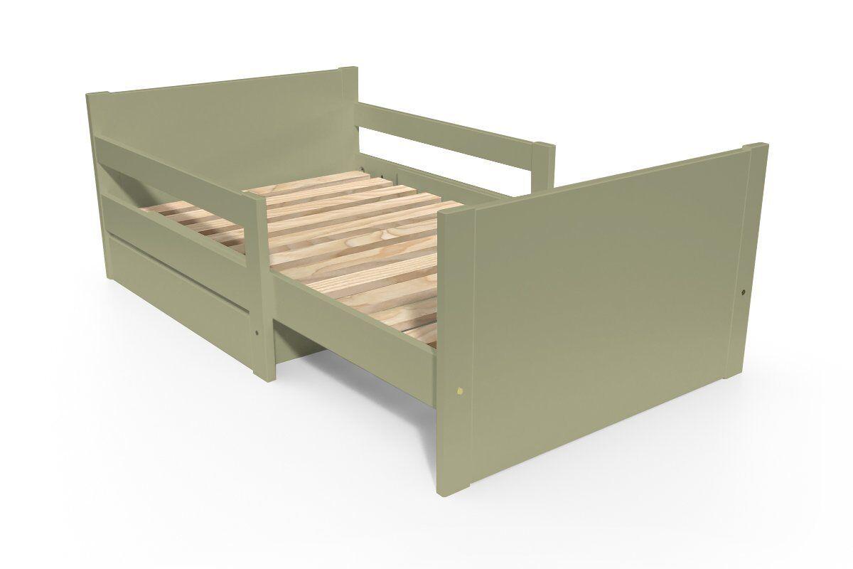 Abc meubles - lit évolutif enfant avec tiroir bois taupe 90 x (140/170/200)
