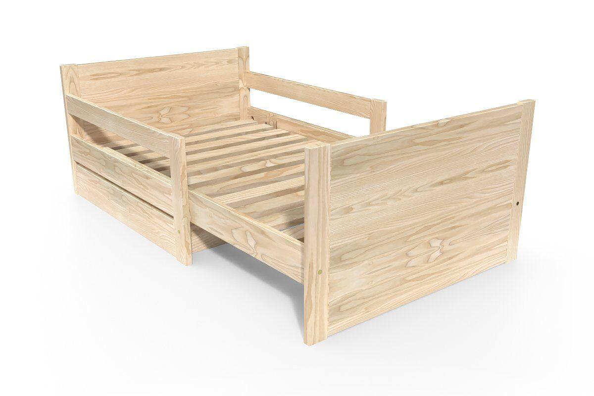 Abc meubles - lit évolutif enfant avec tiroir bois vernis naturel 90 x (140/170/200)