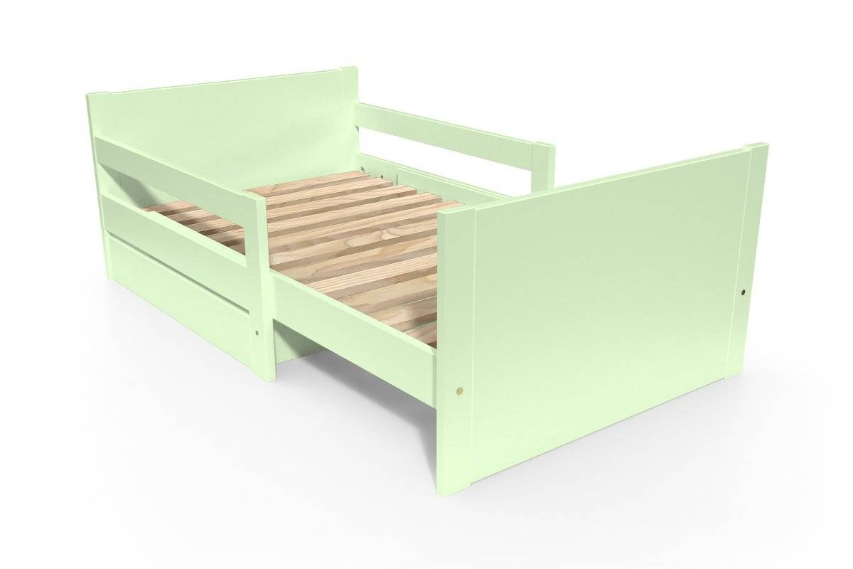 Abc meubles - lit évolutif enfant avec tiroir bois vert pastel 90 x (140/170/200)