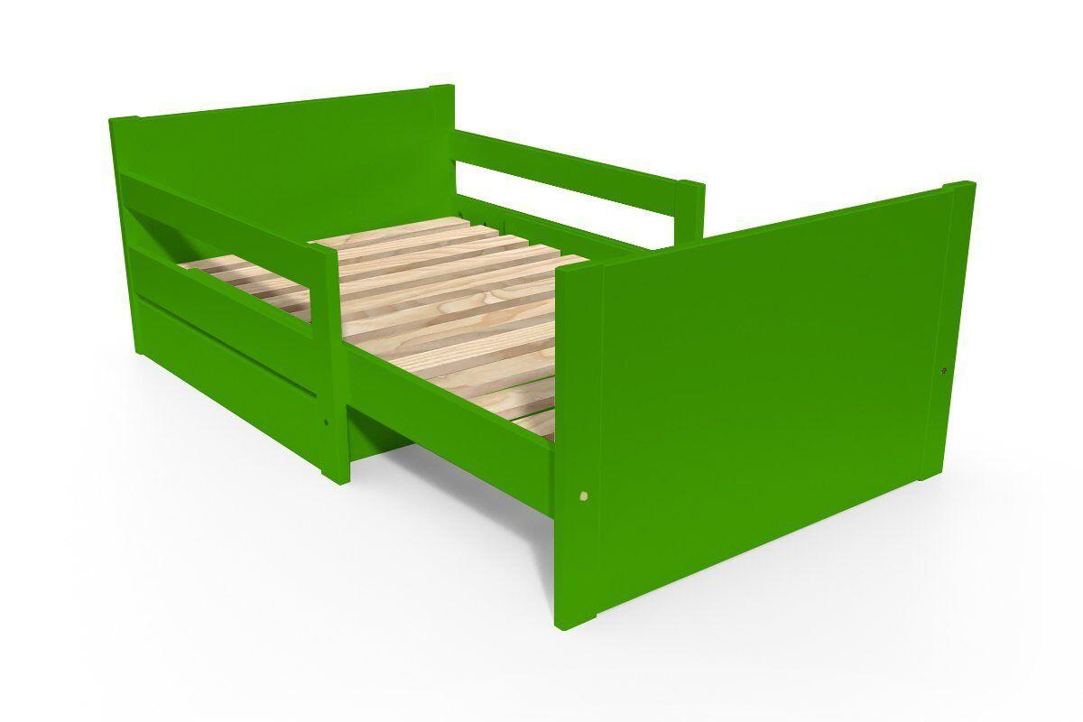 Abc meubles - lit évolutif enfant avec tiroir bois vert 90 x (140/170/200)