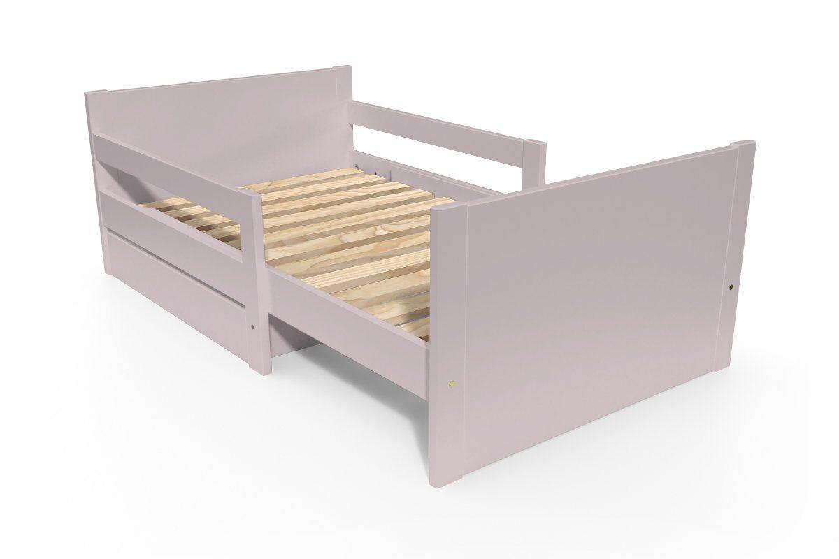 ABC MEUBLES Lit évolutif enfant avec tiroir bois - 90 x (140/170/200) - Violet Pastel