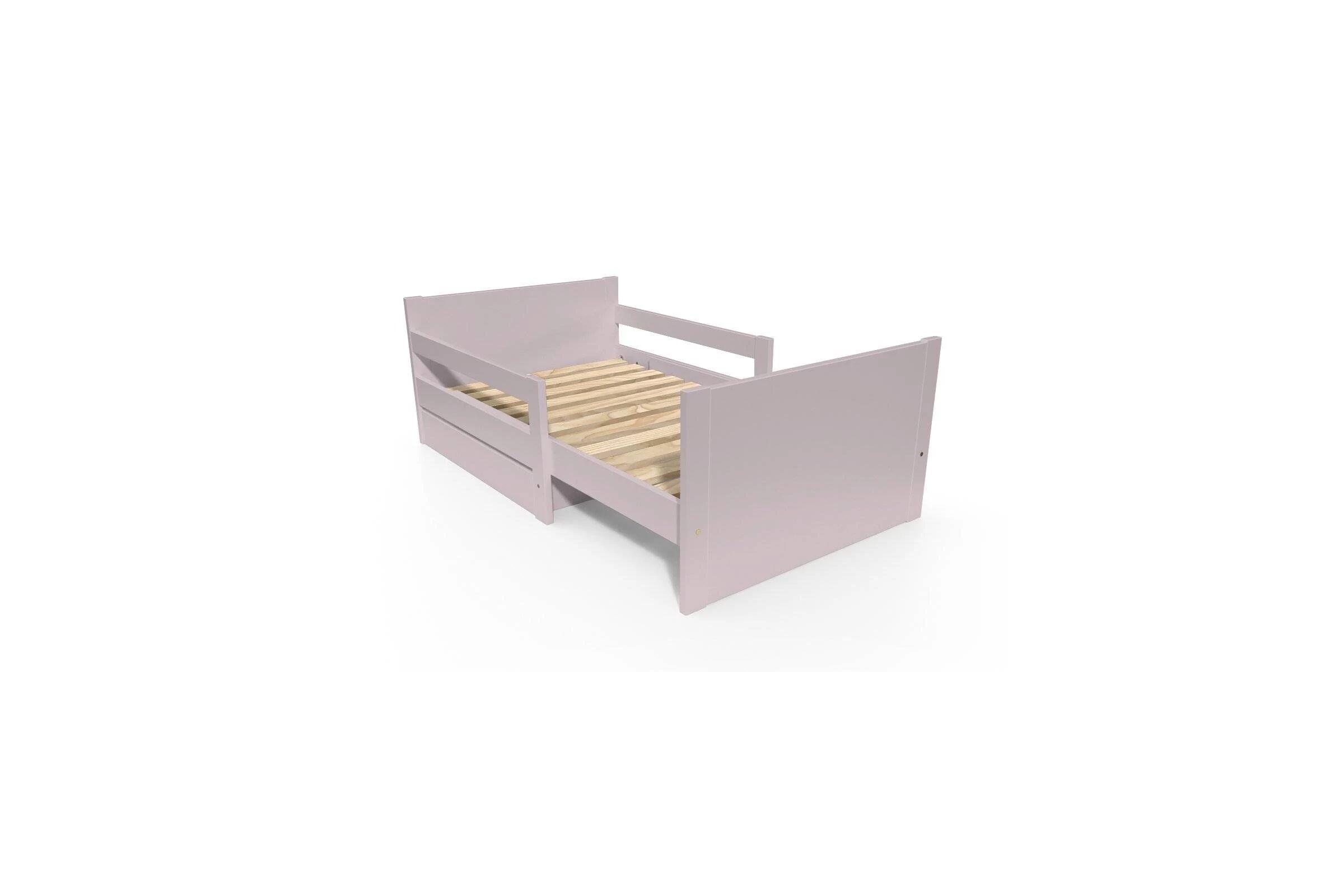 Abc meubles - lit évolutif enfant avec tiroir bois violet pastel 90 x (140/170/200)