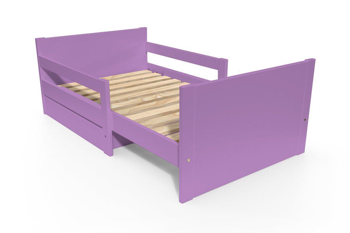 ABC MEUBLES Lit évolutif enfant avec tiroir bois - 90 x (140/170/200) - Lilas