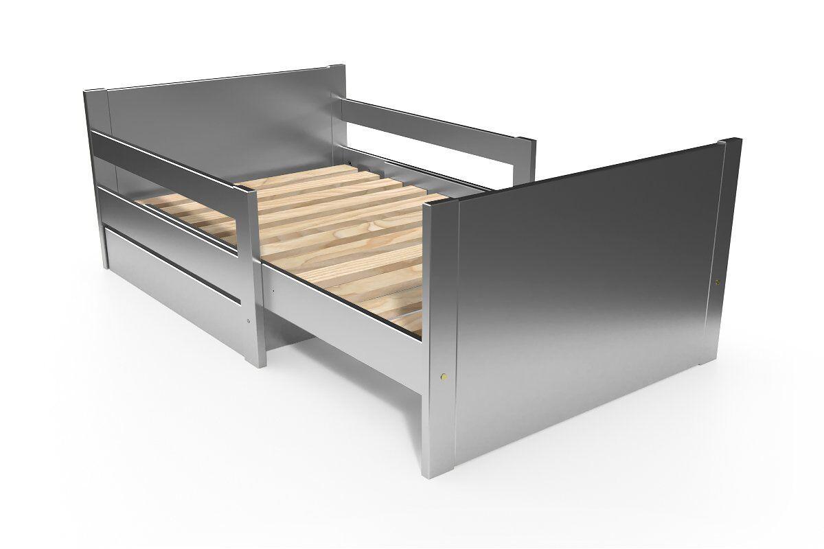 Abc meubles - lit évolutif enfant avec tiroir bois gris aluminium 90 x (140/170/200)