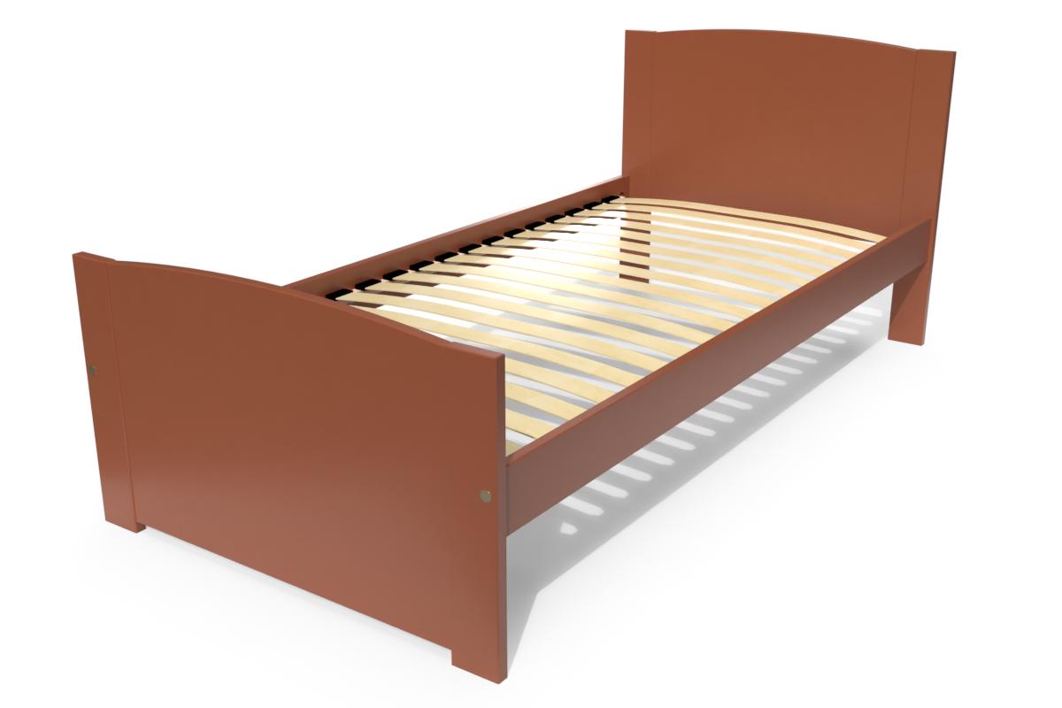 Abc meubles - lit 1 place eden en bois massif chocolat 90x190