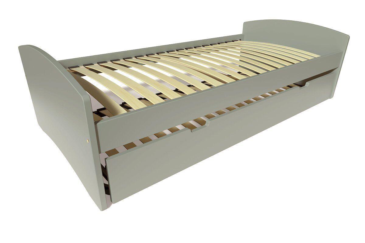 Abc meubles - lit gigogne happy pin massif gris 80x190