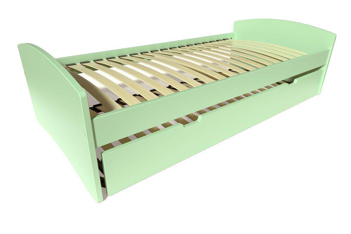 Abc meubles - lit gigogne happy pin massif vert pastel 80x190