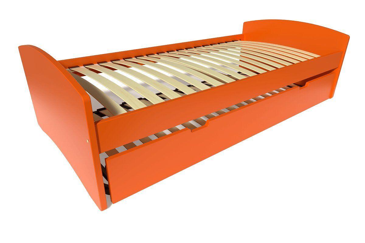 Abc meubles - lit gigogne happy pin massif orange 90x190