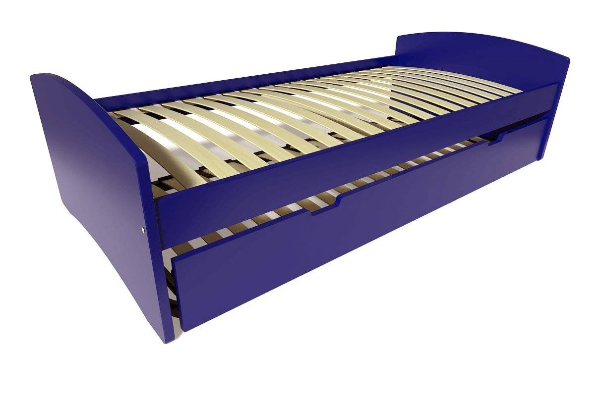 Abc meubles - lit gigogne happy pin massif bleu foncé 80x190