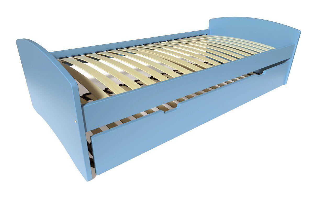 Abc meubles - lit gigogne happy pin massif bleu pastel 90x190