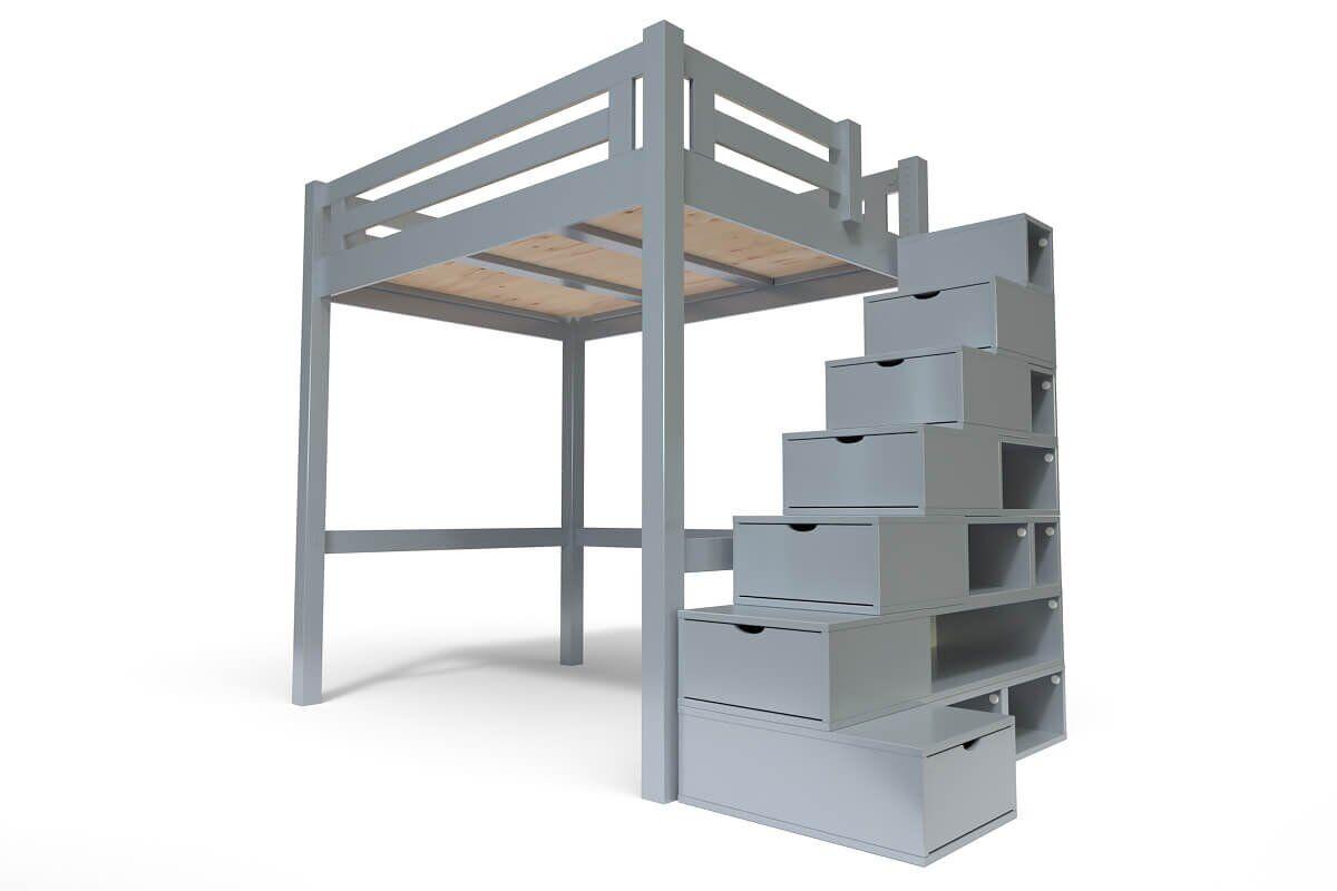 ABC MEUBLES Lit Mezzanine Alpage bois + escalier cube hauteur réglable - 120x200 - Gris Aluminium