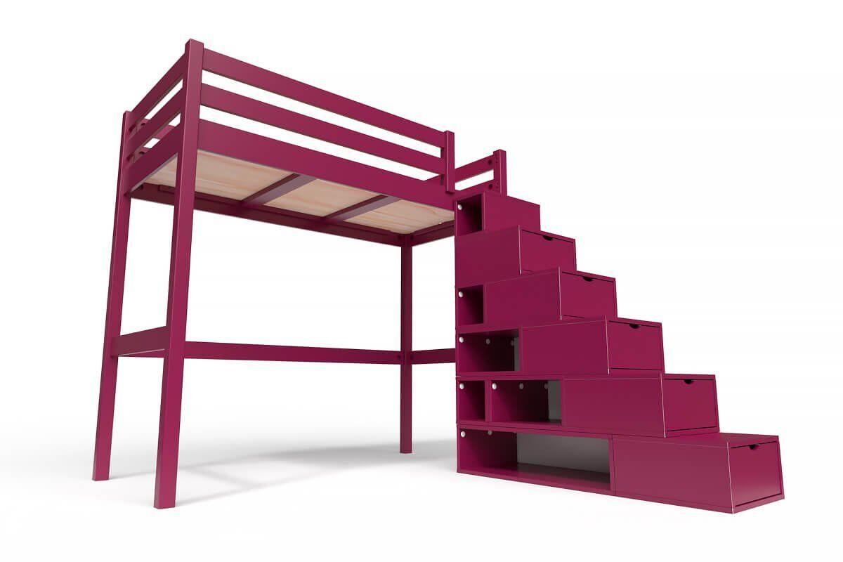 ABC MEUBLES Lit Mezzanine Sylvia avec escalier cube bois - 90x200 - Prune