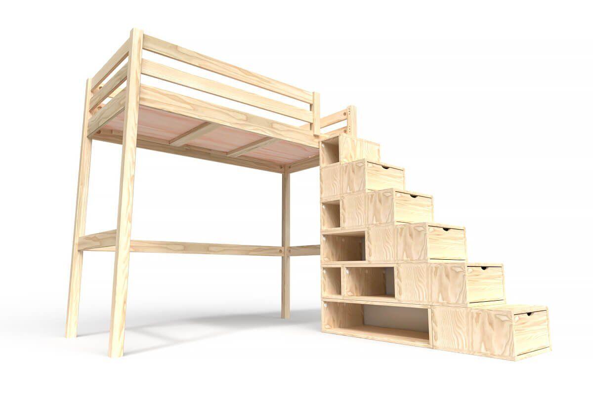 ABC MEUBLES Lit Mezzanine Sylvia avec escalier cube bois - 90x200 - Brut