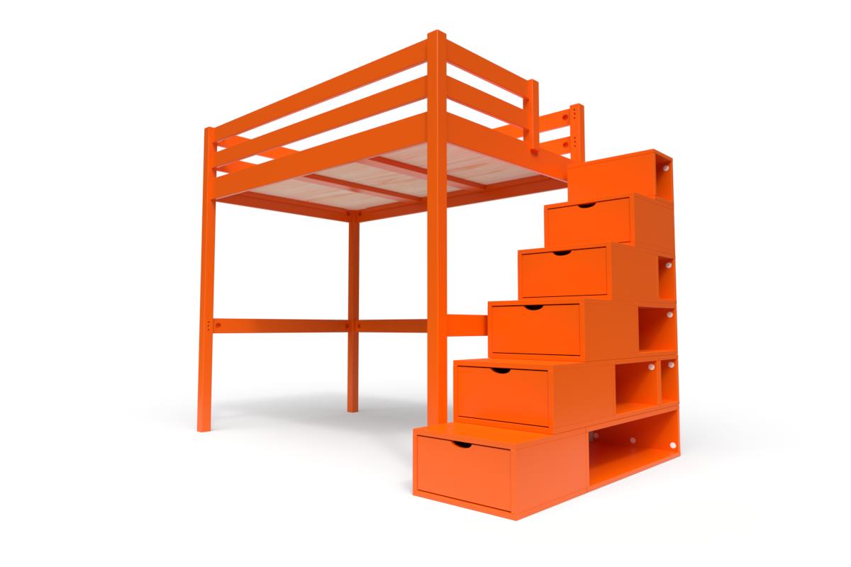 ABC MEUBLES Lit Mezzanine Sylvia avec escalier cube bois - 120x200 - Orange