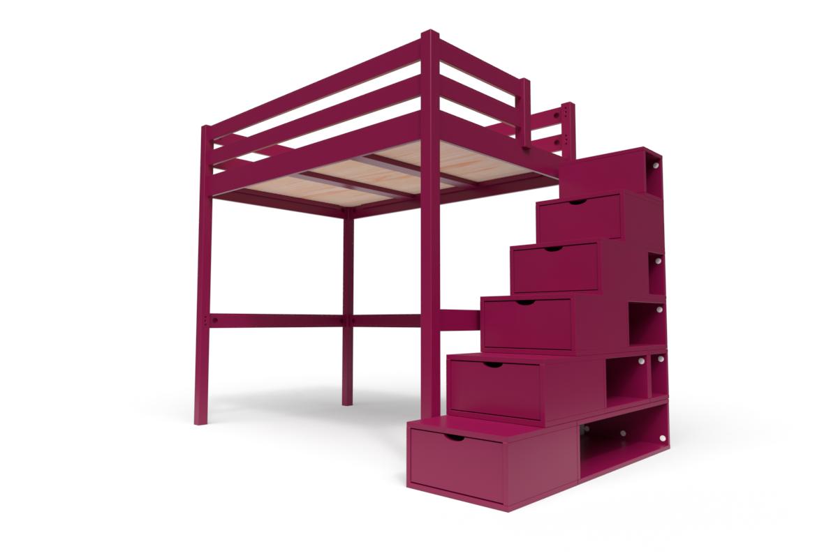 ABC MEUBLES Lit Mezzanine Sylvia avec escalier cube bois - 120x200 - Prune