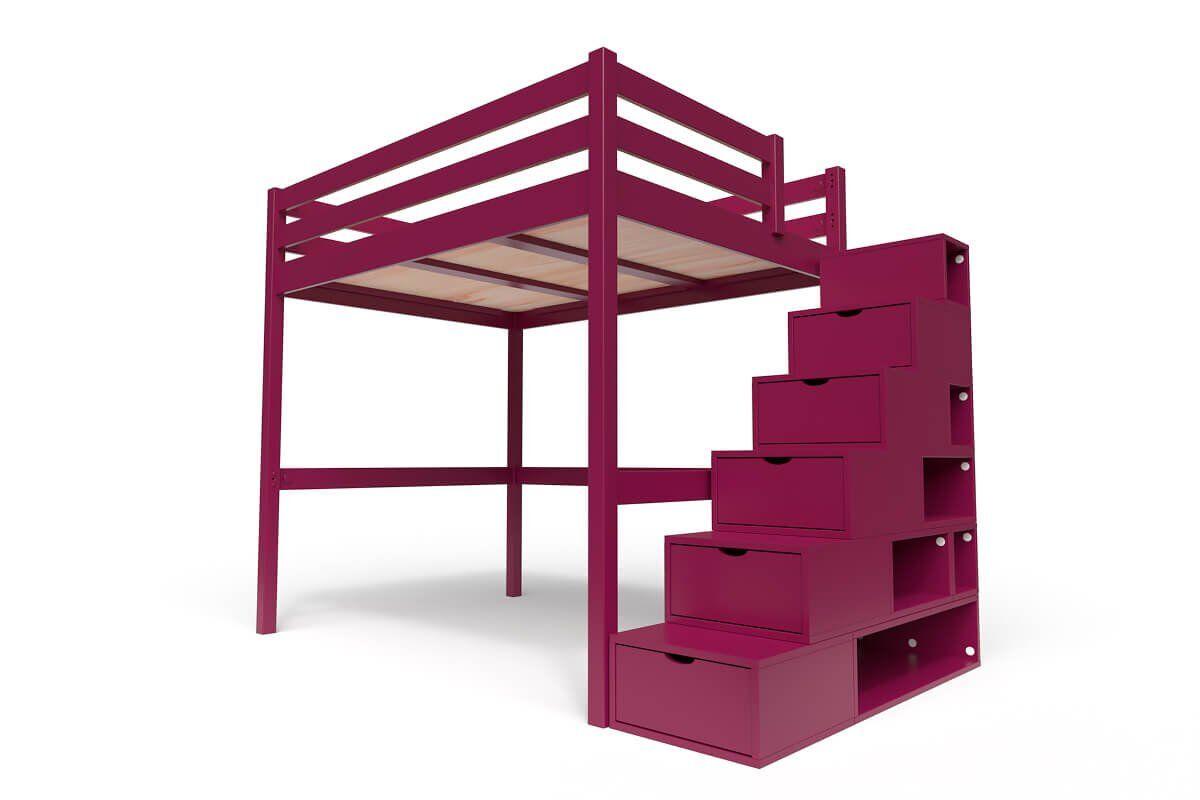 ABC MEUBLES Lit Mezzanine Sylvia avec escalier cube bois - 140x200 - Prune