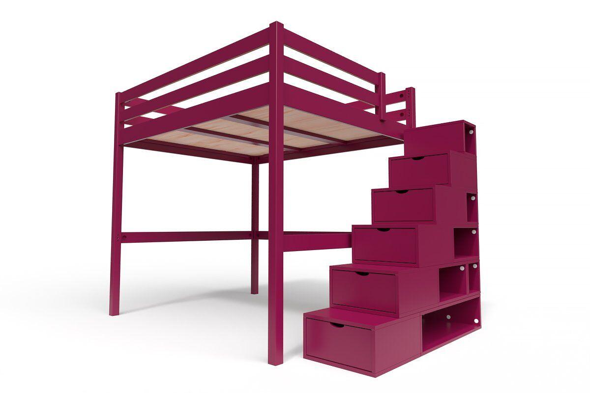 ABC MEUBLES Lit Mezzanine Sylvia avec escalier cube bois - 160x200 - Prune