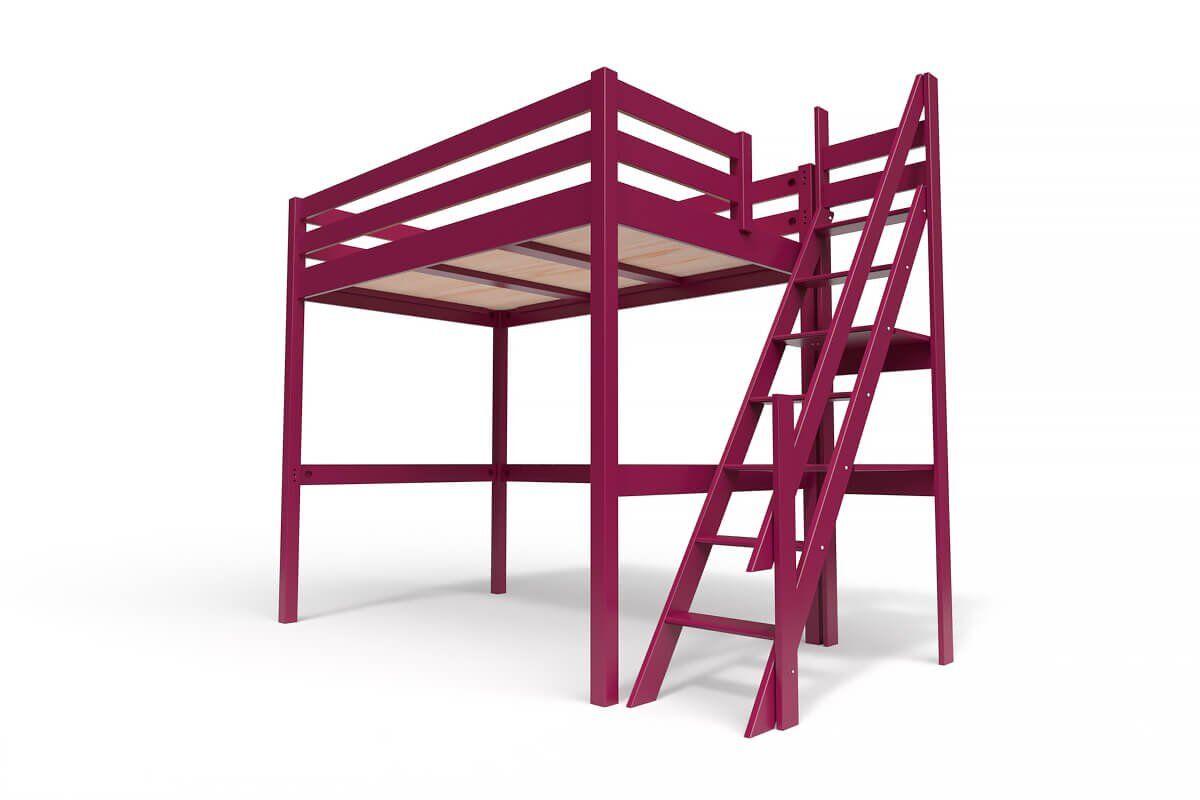 ABC MEUBLES Lit Mezzanine Sylvia avec escalier de meunier bois - 120x200 - Prune