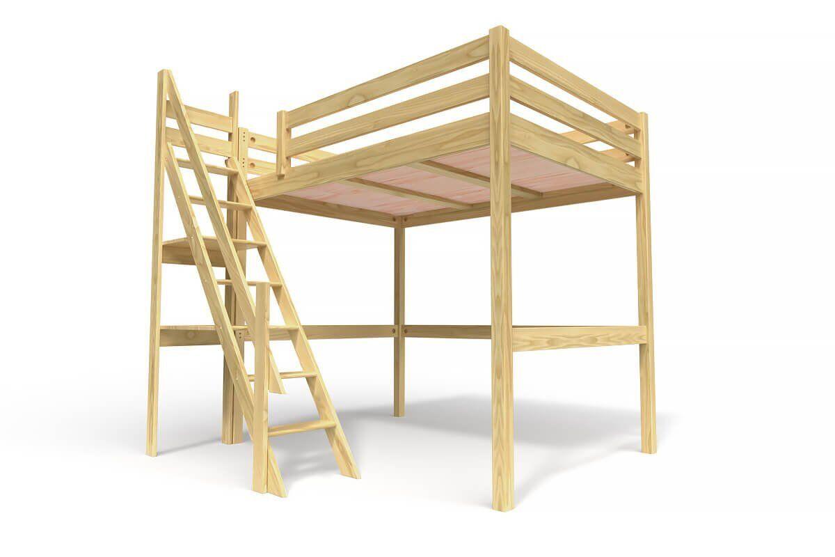 Abc meubles - lit mezzanine sylvia avec escalier de meunier bois miel 140x200