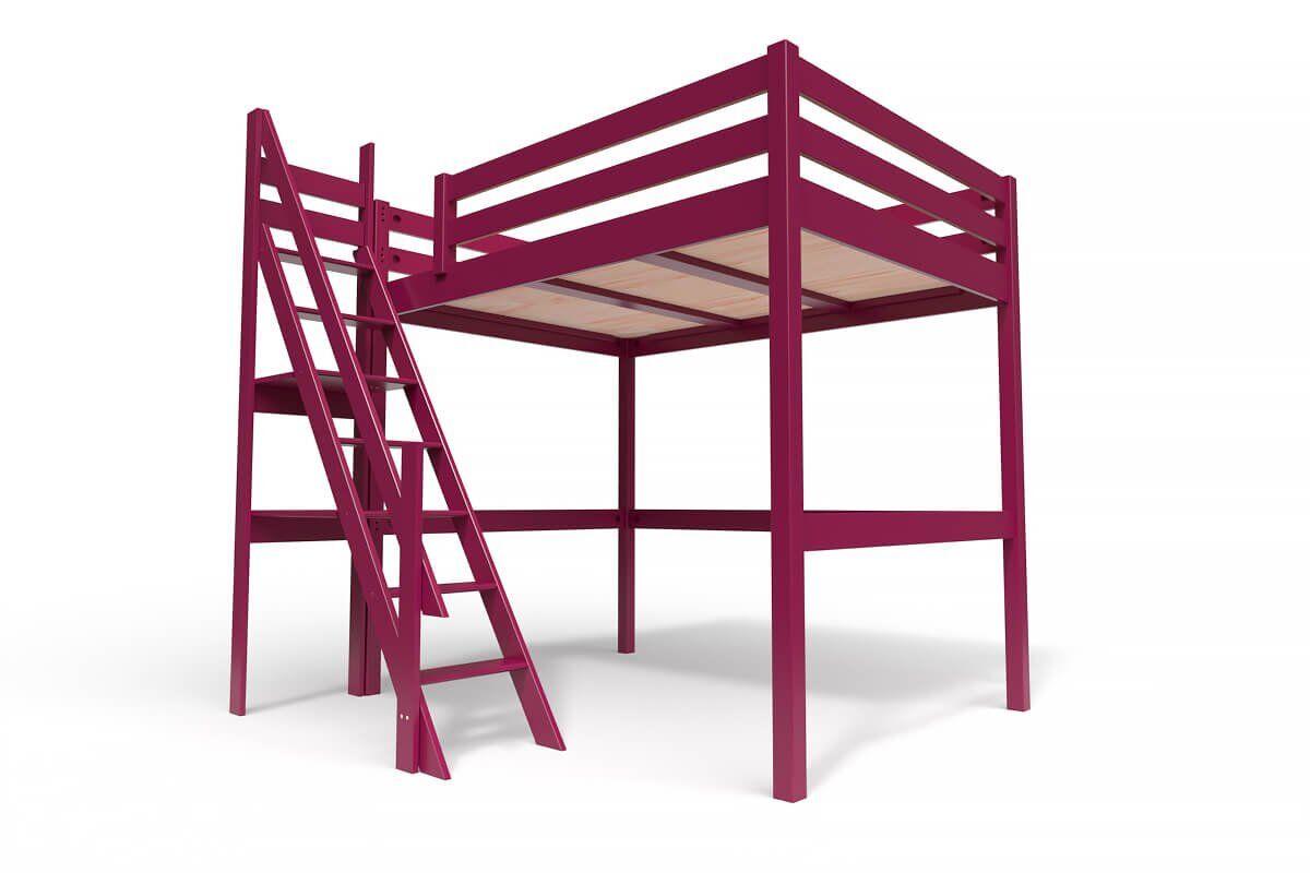ABC MEUBLES Lit Mezzanine Sylvia avec escalier de meunier bois - 140x200 - Prune