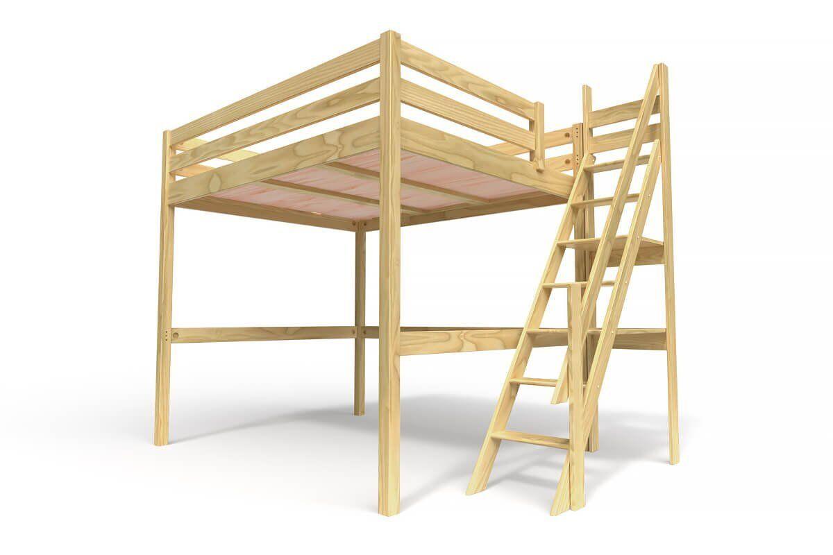 Abc meubles - lit mezzanine sylvia avec escalier de meunier bois miel 160x200
