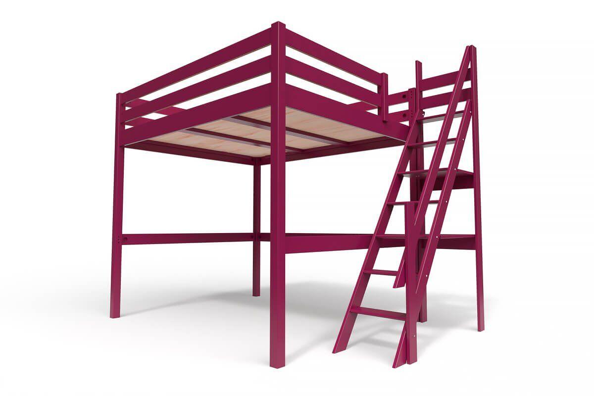 ABC MEUBLES Lit Mezzanine Sylvia avec escalier de meunier bois - 160x200 - Prune