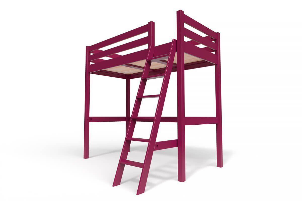 ABC MEUBLES Lit Mezzanine Sylvia avec échelle bois - 90x200 - Prune