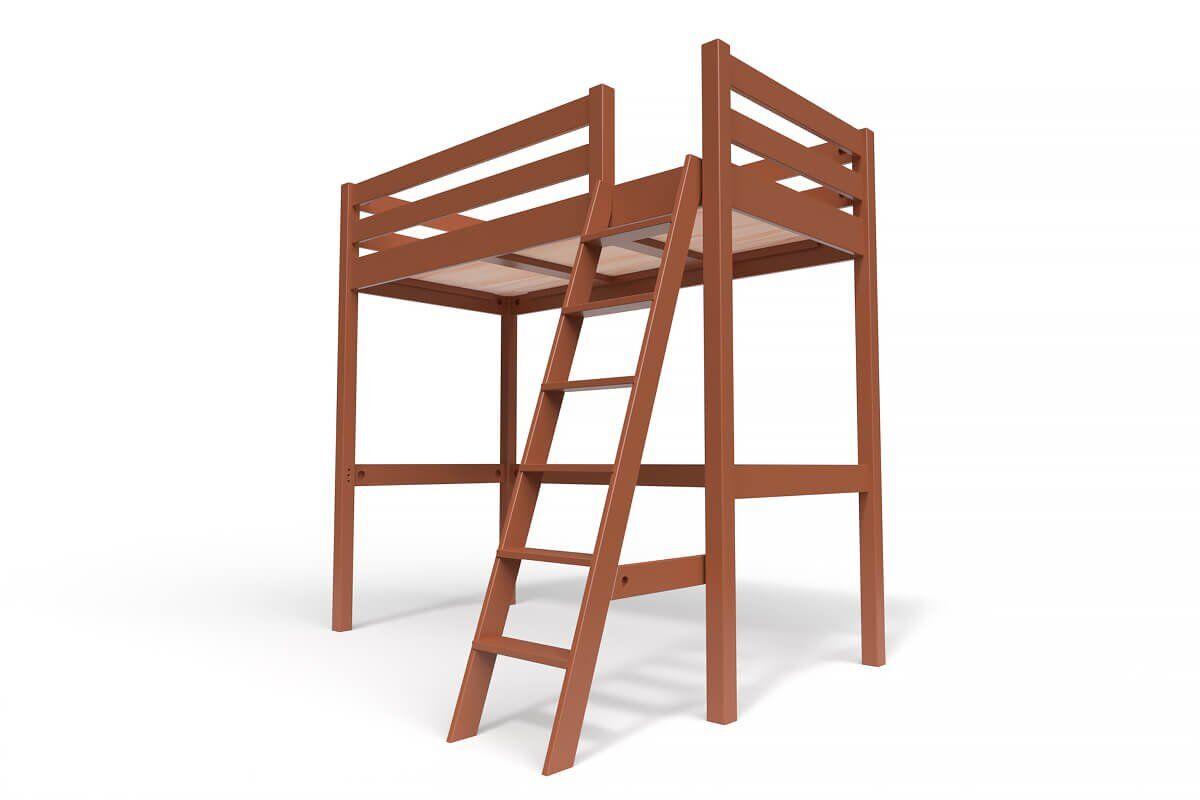 ABC MEUBLES Lit Mezzanine Sylvia avec échelle bois - 90x200 - Chocolat