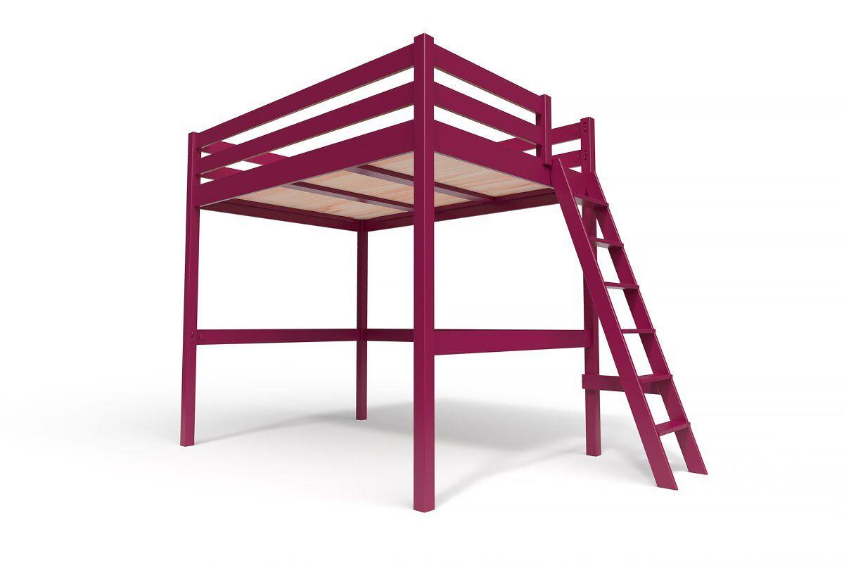 ABC MEUBLES Lit Mezzanine Sylvia avec échelle bois - 140x200 - Prune