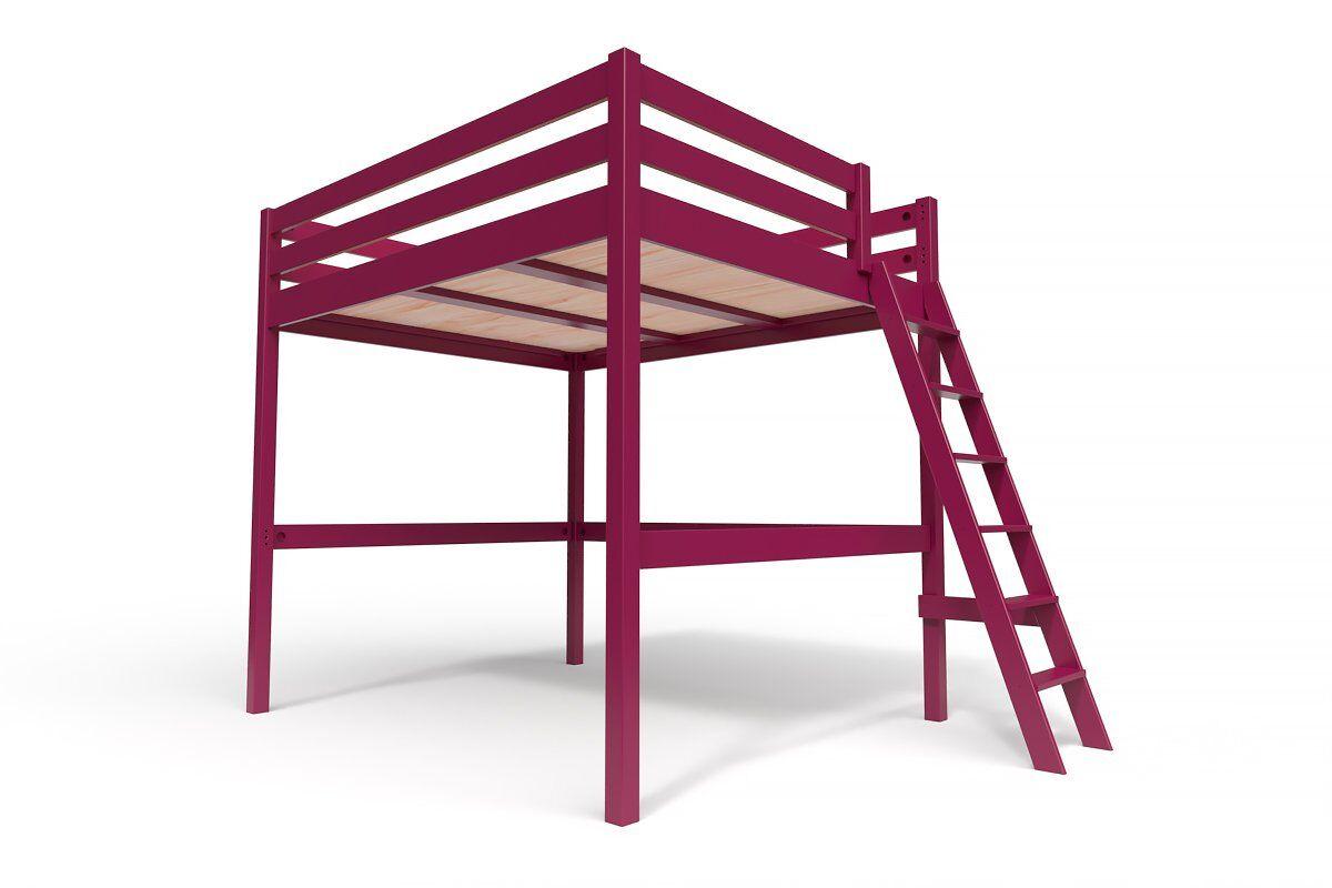 ABC MEUBLES Lit Mezzanine Sylvia avec échelle bois - 160x200 - Prune