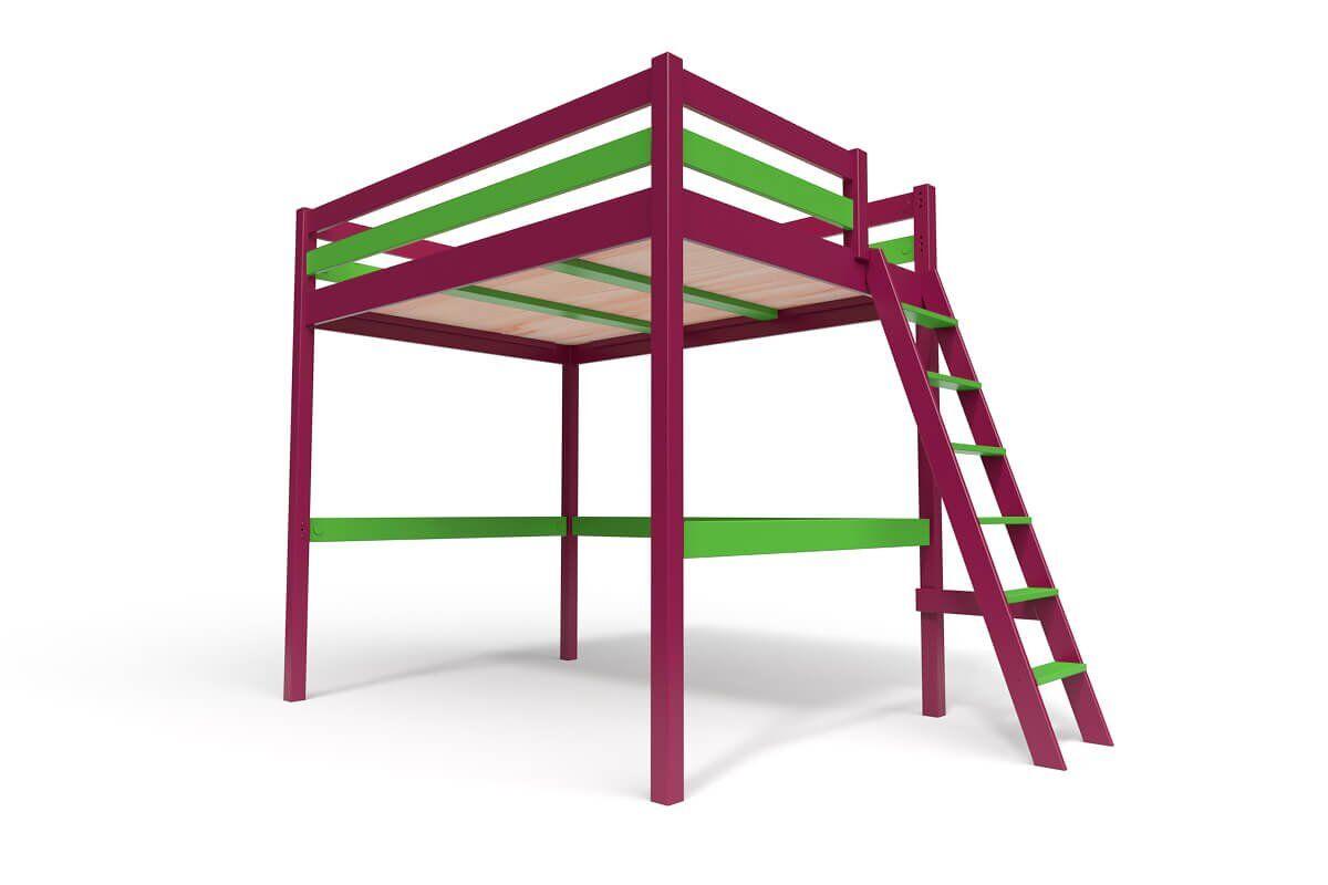 ABC MEUBLES Lit Mezzanine Sylvia avec échelle bois - 140x200 - Prune/Vert
