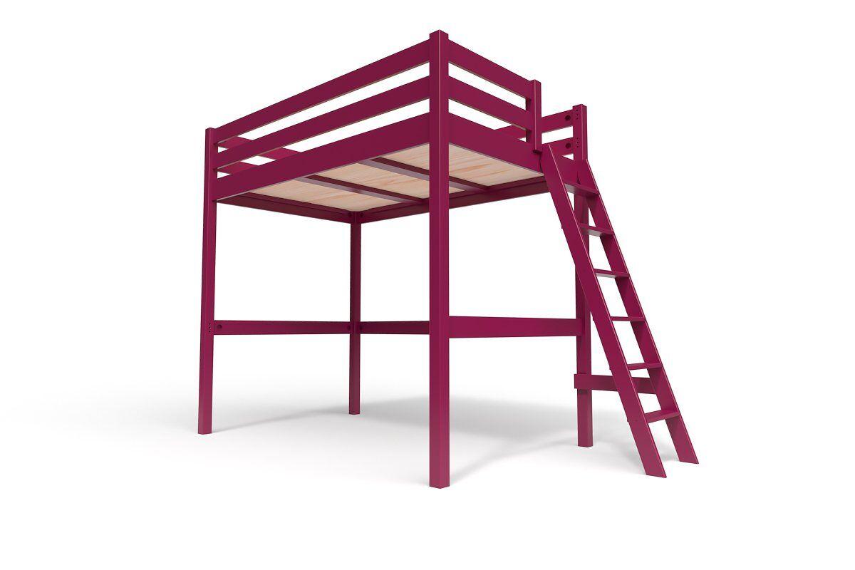 ABC MEUBLES Lit Mezzanine Sylvia avec échelle bois - 120x200 - Prune