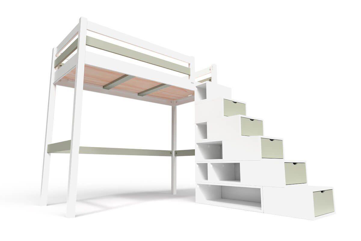 ABC MEUBLES Lit Mezzanine Sylvia avec escalier cube bois - 90x200 - Blanc/Moka