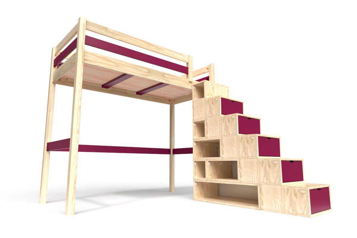 ABC MEUBLES Lit Mezzanine Sylvia avec escalier cube bois - 90x200 - Vernis Naturel/Prune
