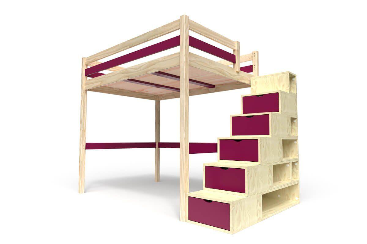 ABC MEUBLES Lit Mezzanine Sylvia avec escalier cube bois - 140x200 - Vernis Naturel/Prune
