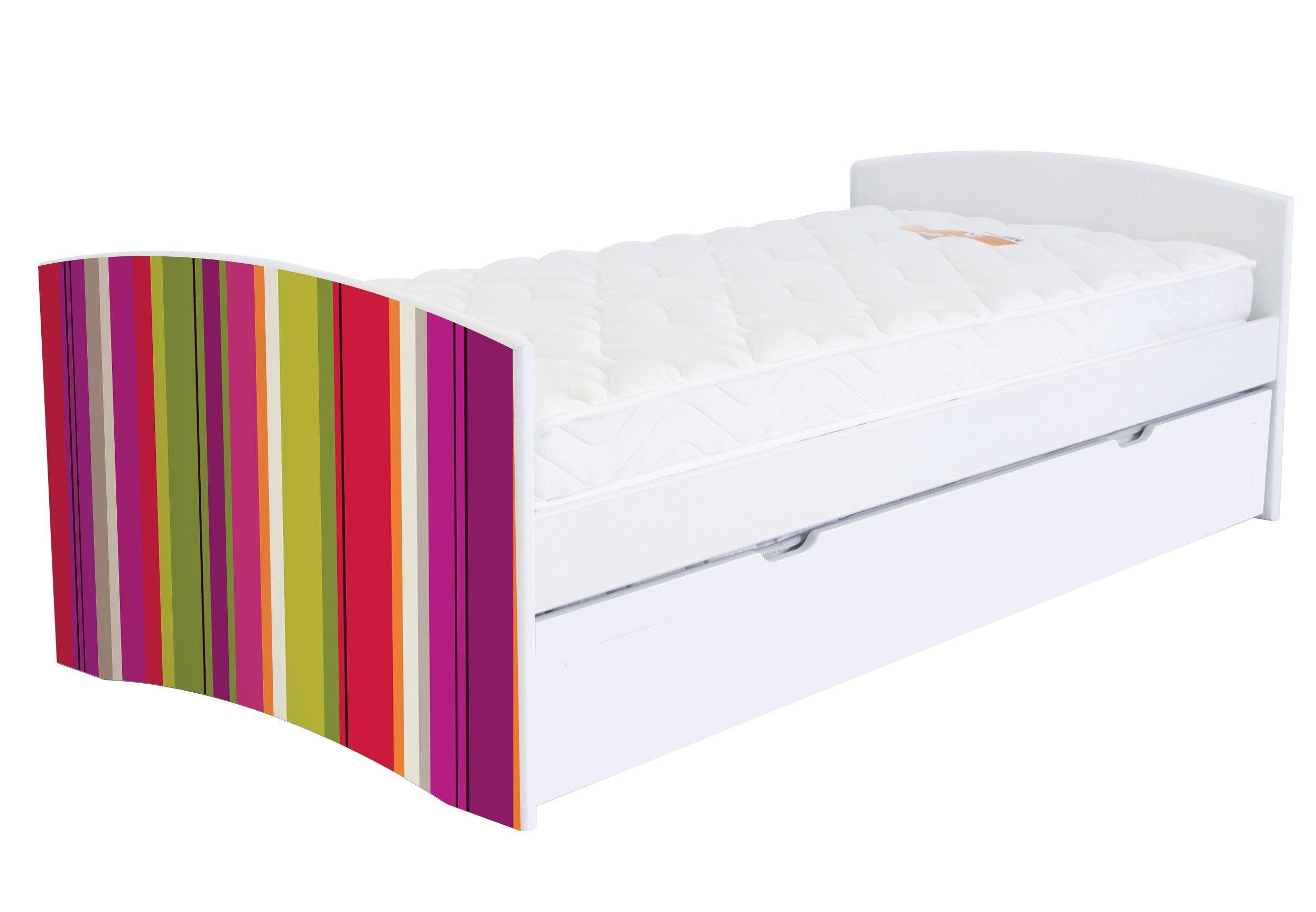 ABC MEUBLES Banquette lit gigogne Happy 90x190 bois et décor - 90x190 - Rayures Anis,Fuschia,Citrouille