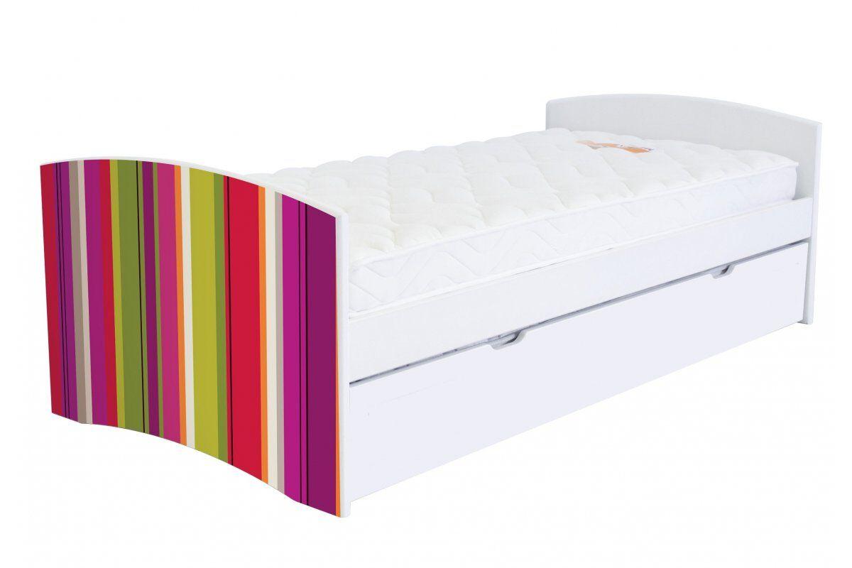 Abc meubles - lit banquette gigogne happy 90 x 190cm 90x190 rayures anis,fuschia,citrouille