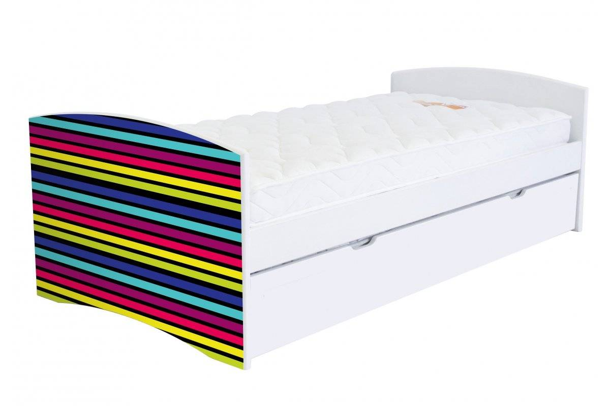 Abc meubles - lit banquette gigogne happy 90 x 190cm 90x190 rayures jaune,vert,rouge,noir