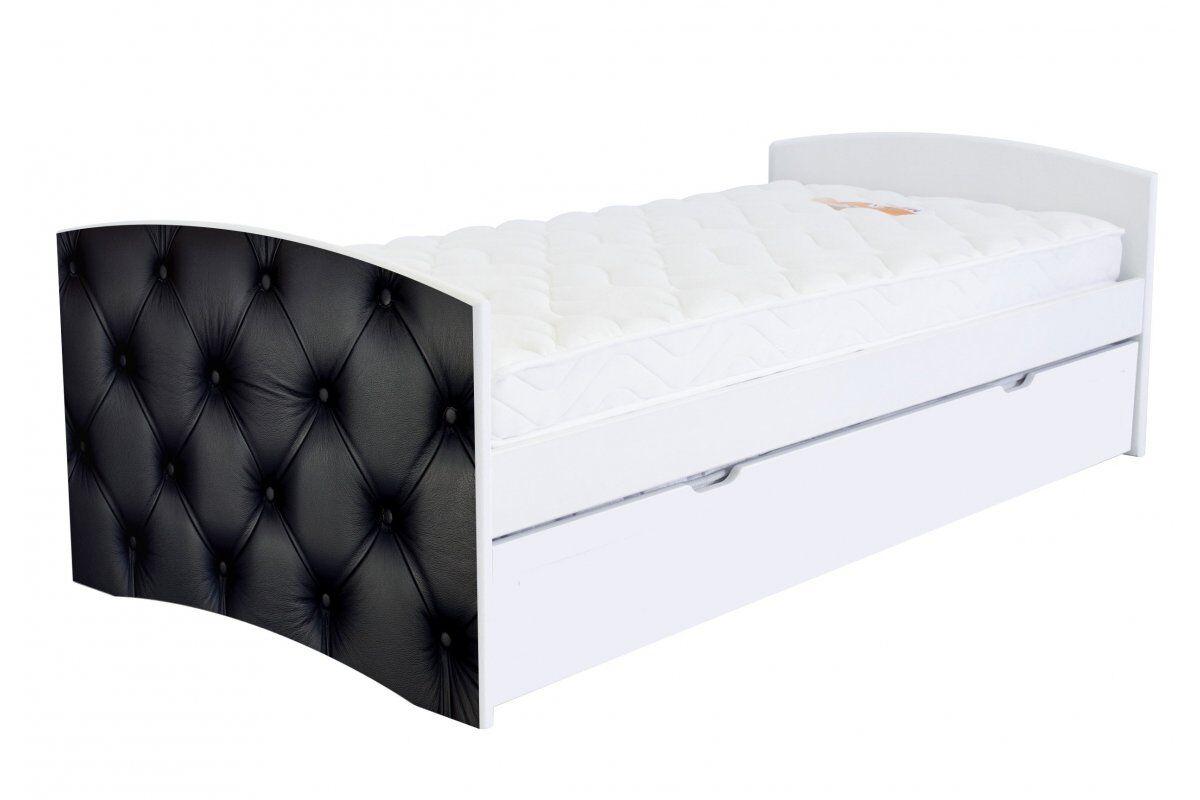 Abc meubles - lit banquette gigogne happy 90 x 190cm 90x190 capiton noir