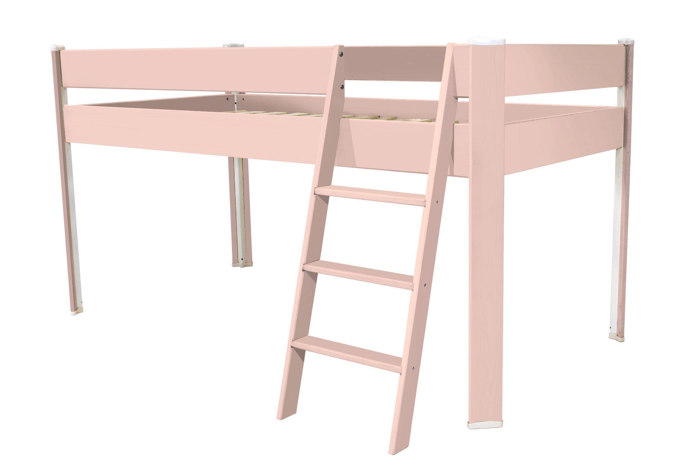 ABC MEUBLES Lit Compact surélevé enfant - 90x190 - Rose Pastel