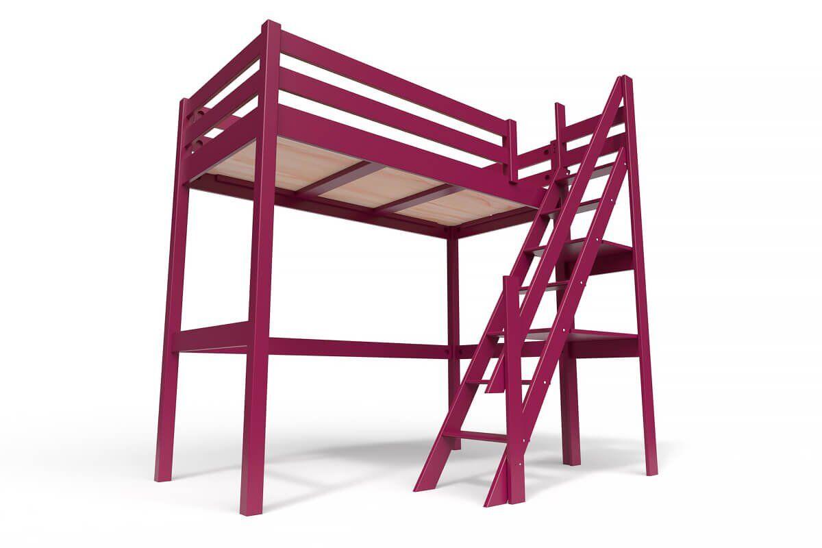 ABC MEUBLES Lit Mezzanine Sylvia avec escalier de meunier bois - 90x200 - Prune