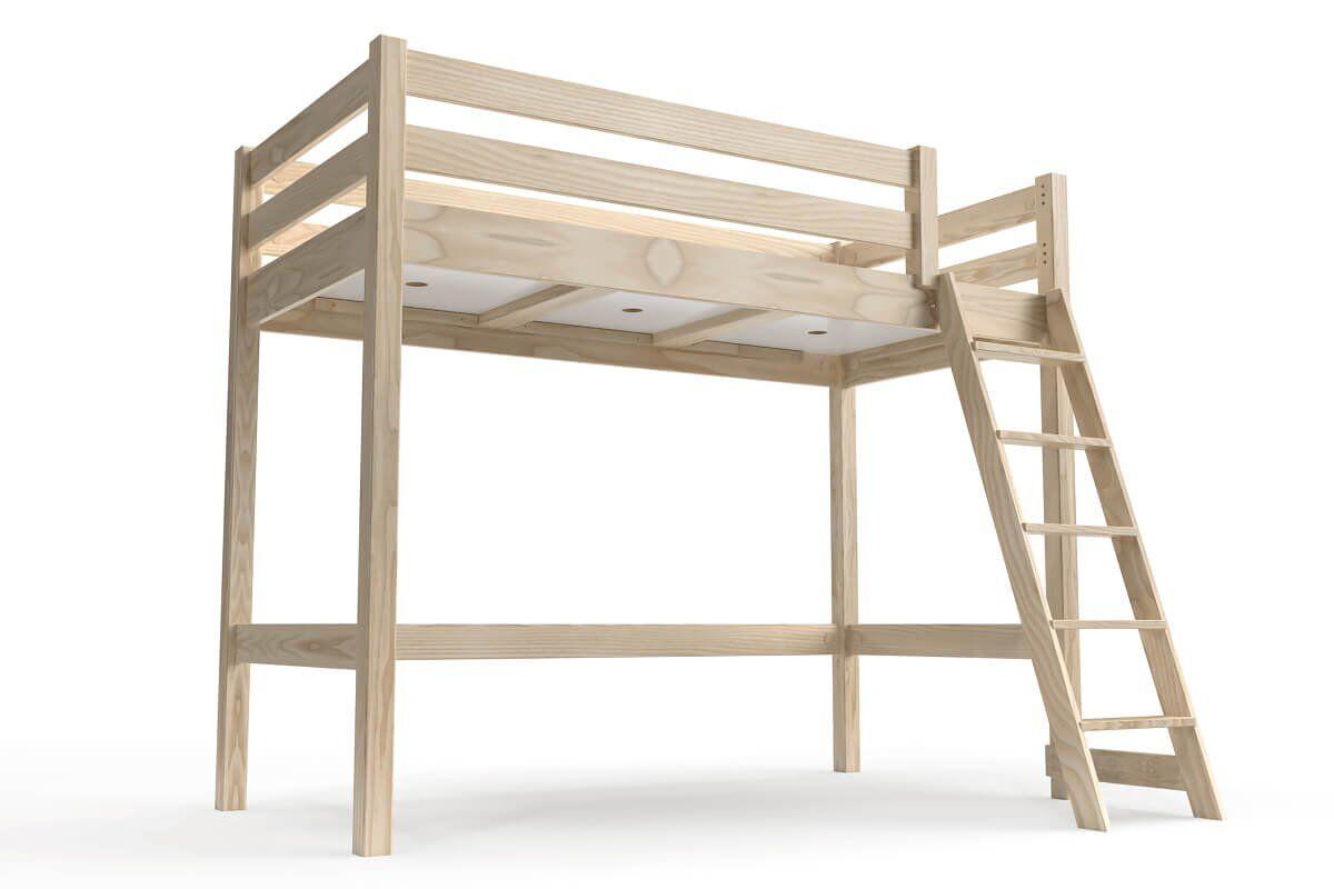 ABC MEUBLES Lit mi-hauteur ABC 90x200 bois avec échelle inclinée - 90x200 - Vernis Naturel