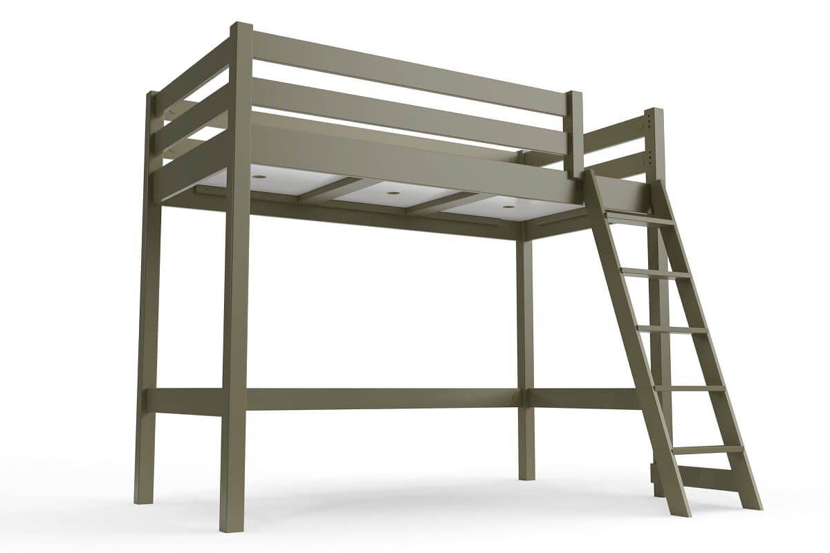 ABC MEUBLES Lit mi-hauteur ABC 90x200 bois avec échelle inclinée - 90x200 - Taupe