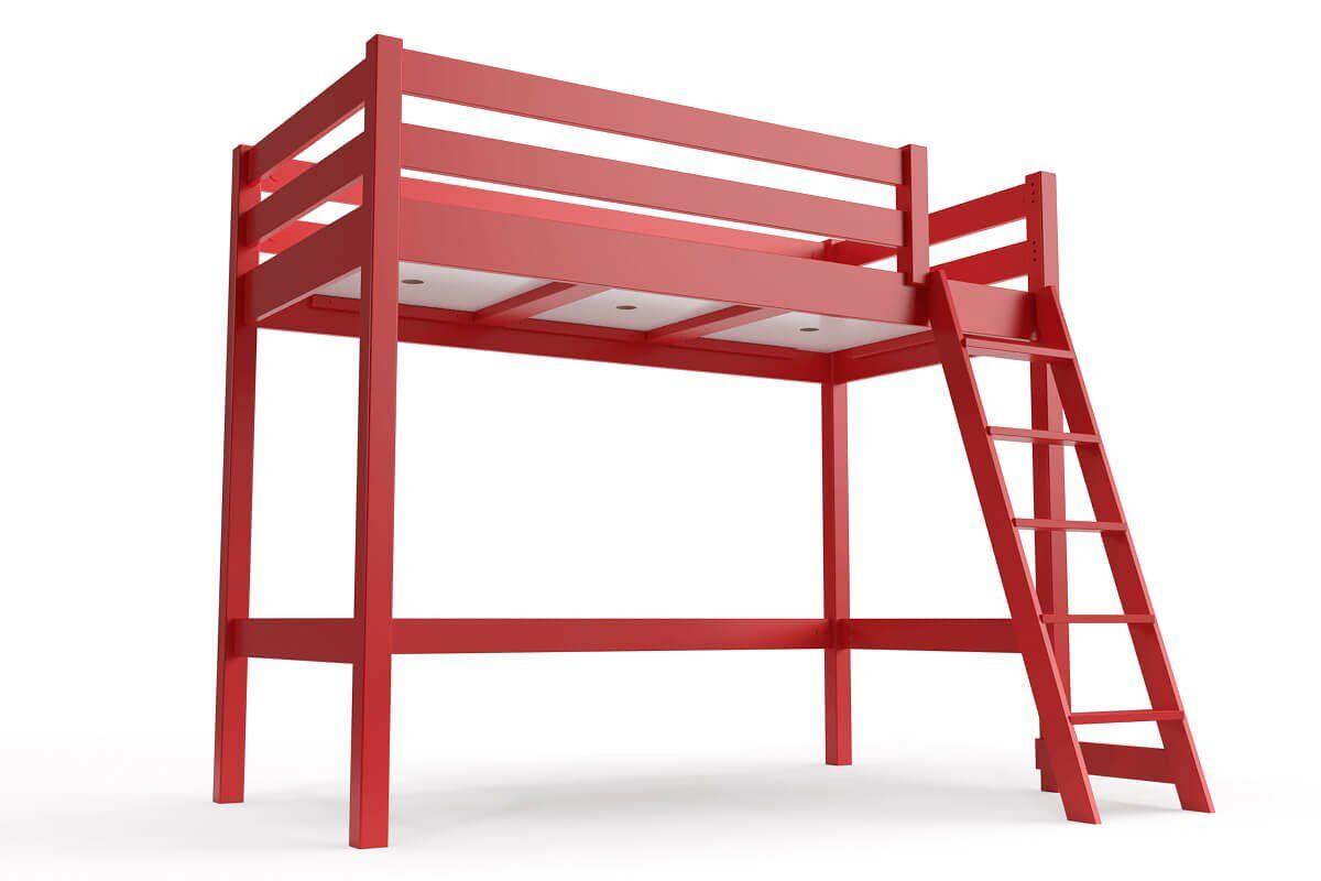 ABC MEUBLES Lit mi-hauteur ABC 90x200 bois avec échelle inclinée - 90x200 - Rouge