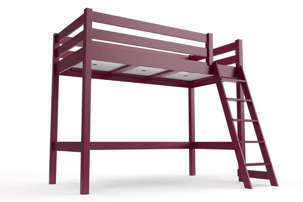ABC MEUBLES Lit mi-hauteur ABC 90x200 bois avec échelle inclinée - 90x200 - Prune