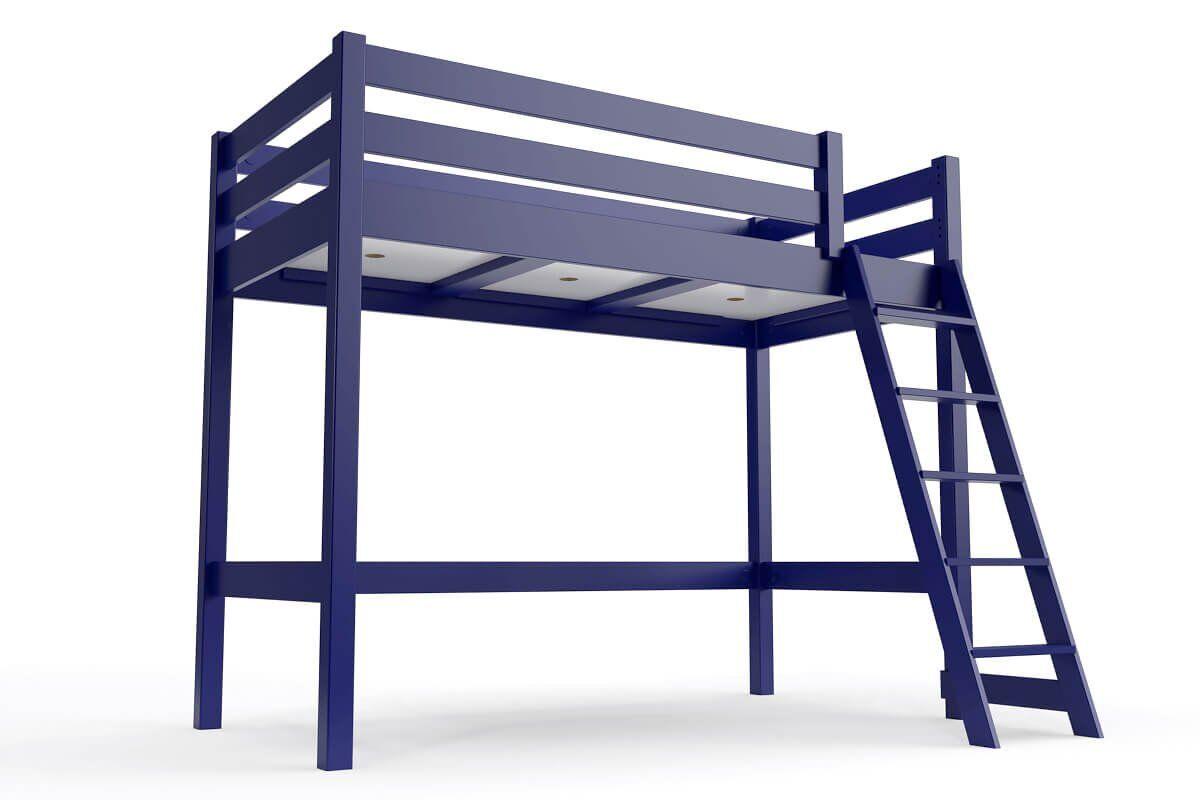 ABC MEUBLES Lit mi-hauteur ABC 90x200 bois avec échelle inclinée - 90x200 - Bleu foncé